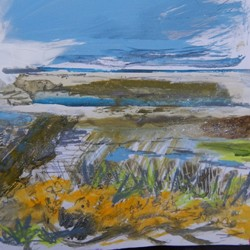 Sketching the gorse from Blakeney to Wiveton