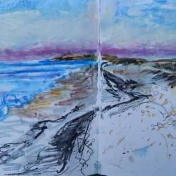 Sketching the mauve horizon on Cley beach