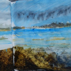 Sketchbook page of East Hills on Wells beach