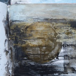 Sketchbook page -bronze acrylic, gold leaf and a palette knife