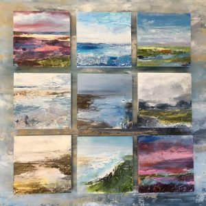 Christmas gift ideas. paintings for presents. 15x15 cm. coastal artworks
