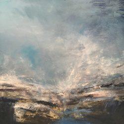 Mixed media on canvas. 104 x 104cm. Framed