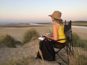 Tracey Ross sketching Scolt Head North Norfolk